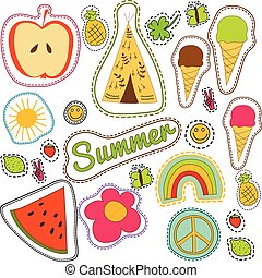 happy embroidery colorful summer patches pattern. Vector seamless pattern with pineapple, watermelon, ice cream, lemon, butterfly, wigwam, clower, strawberry, sun, smile, rainbow, pacific