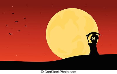 Silhouette of warlock and full moon backgrounds illustration