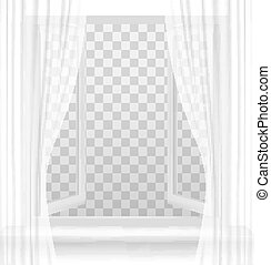 Open window with curtains on a transparent background....