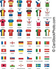 Collection of various soccer jerseys and flags of countries.  Vector.