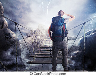 3D Rendering of explorer on unstable bridge - 3D Rendering...