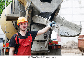 construction builder and concrete machine - worker builder...