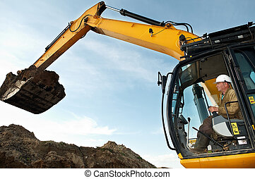 Excavator loader works - excavator loader driver working at...