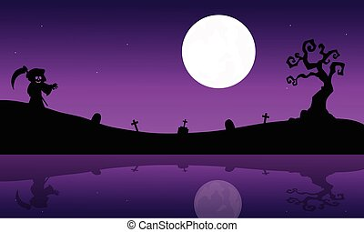 Silhouette of warlock in riverbank Halloween purple...
