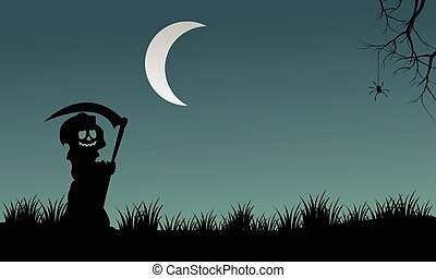 Halloween warlock silhouette at night vector illustration