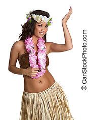 hawaiano, hula, ballerino, ragazza