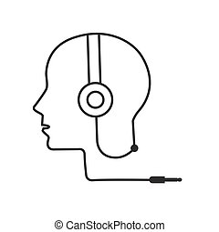 man profile outline with headphone music illustration vector