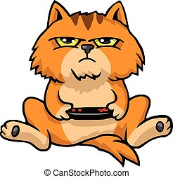 Grumpy Cat Playing Game Console Cartoon Vector