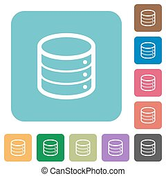Flat database icons on rounded square color backgrounds