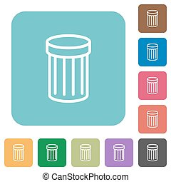 Flat trash icons on rounded square color backgrounds