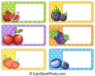 Label design with fruits and berries