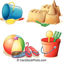 Bucket toys and sand castle