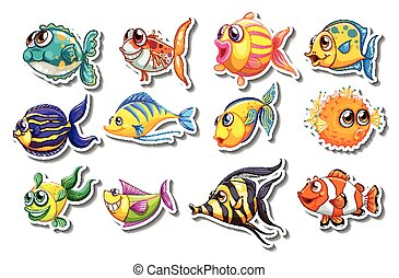 Set of stickers with cute fish