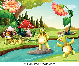 Three turtles at the river illustration