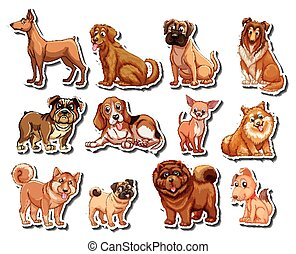 Stickers of different kind of dogs illustration