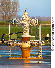 Close up of Natural gas production wellhead - Vintage...