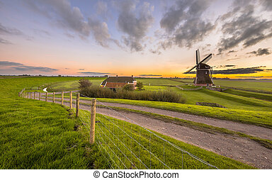 Dutch Wooden windmill in flat grassy landscape - Ultra wide...
