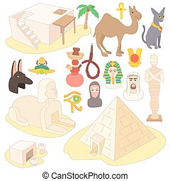 Egypt icons set, cartoon style
