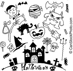 Halloween doodle set with hand draw