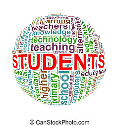 Wordcloud word tags ball of students