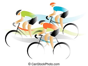 Bicycle road race. - Three cyclists competitors. Colorful...