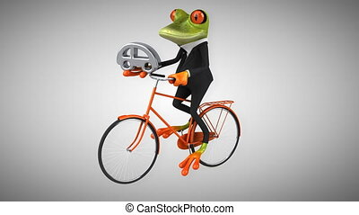Fun frog on a bicycle - Digital animation