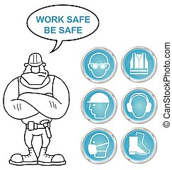 Cyan Health and Safety icons and bu - Mandatory construction...