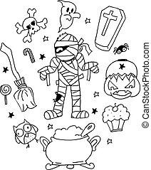 Halloween mummy doodle vector art