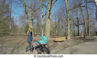 mother with baby carriage on park. Mother care,child...