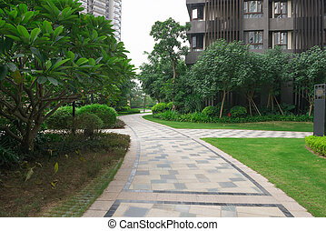 pathway in outdoor of a residential building