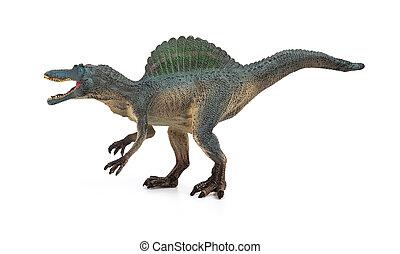 juguete, gris, lado, Plano de fondo, blanco, spinosaurus,...