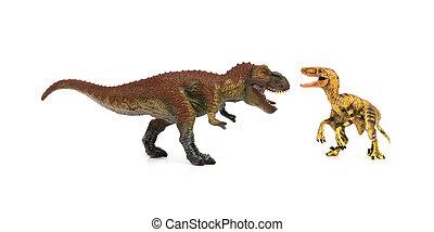 Velociraptor,  tyrannosaurus, blanco, Plano de fondo