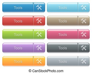 Tools captioned menu button set - Set of tools glossy color...