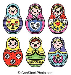 Kawaii cute Russian nesting doll - Russian folk art -...