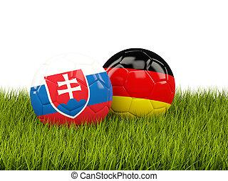 alemania, y, Eslovaquia, futbol, pelotas, en, pasto o...