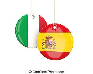 Italia, y, españa, futbol, equipos, redondo,...