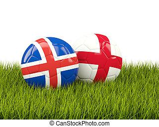 Islandia, y, inglaterra, futbol, pelotas, en, pasto o...