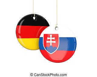 alemania, y, Eslovaquia, futbol, equipos, redondo,...