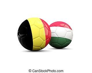 Hungría, y, bélgica, futbol, pelotas,