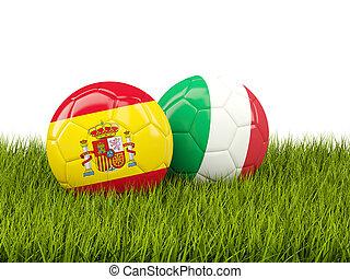 Italia, y, españa, futbol, pelotas, en, pasto o...