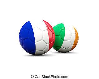 francia, y, irlanda, futbol, pelotas,