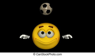 Seamless Looping Emoticon Animation: Soccer With Alpha Mask,...