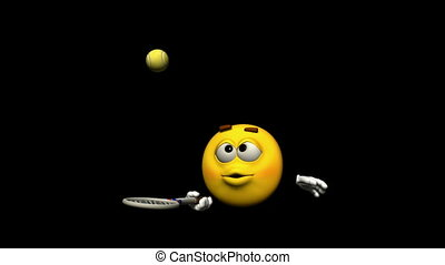 Seamless Looping Emoticon Animation: tennis With Alpha Mask,...