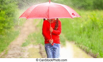 girl with red umbrella - girl with a red umbrella in the...