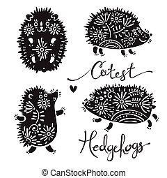 Set of cutest hedgehogs with flowers Elements for design and...