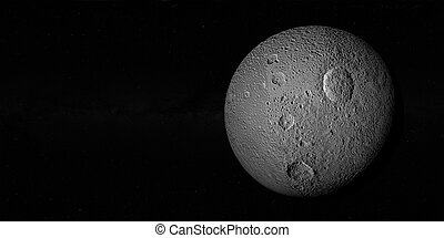 Tethys or Saturn III, mid-sized moon of Saturn on space...
