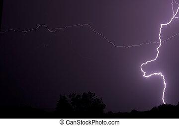 Lightning at night.