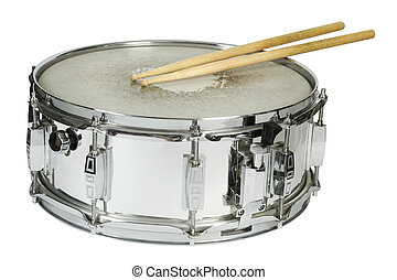 Snare drum and sticks isolated - Drumsticks resting on a...