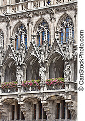 Munich, Germany - detail of the facade of the main entrance...