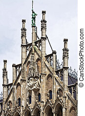 Munich, Germany - detail of the facade front piece over the...